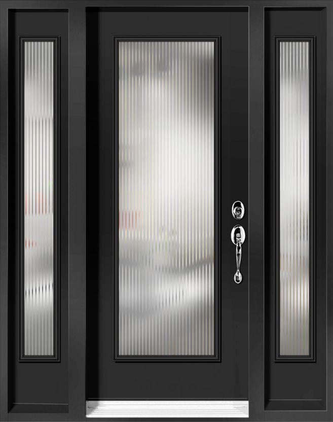 Vitraux linea for Porte exterieur noir